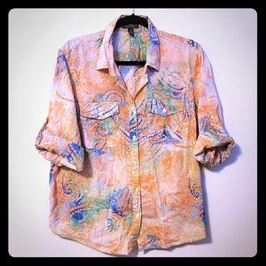 Fun Ralph Lauren batik roll tab camp shirt, sz 1X